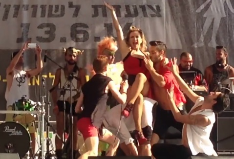Watch: Mei Finegold and Dana International at Tlv pride 2014
