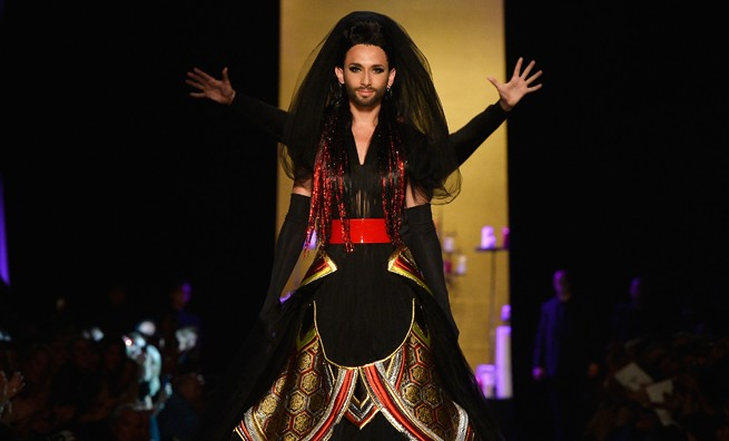 Werking Girl: Conchita Wurst walks runway for Jean Paul Gaultier Couture Show