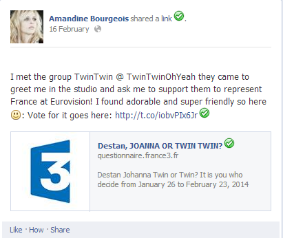 Amandine Supports Twin Twin France 2014