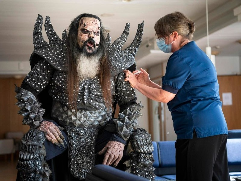 Finland's Lordi gets his COVID-19 vaccine at a pop-up vaccination event